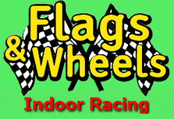 [Flags & Wheels Indoor Racing Logo]